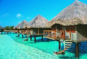 Cabañas en tahiti, agua calipso